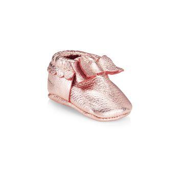 Мокасины с бантом из розового золота для маленьких девочек Freshly Picked