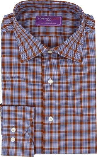 Классическая рубашка с отделкой на пуговицах Glen в клетку спереди Lorenzo Uomo