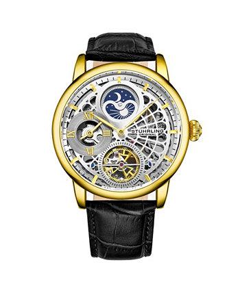 Мужские черные кожаные часы с ремешком 43мм Stuhrling