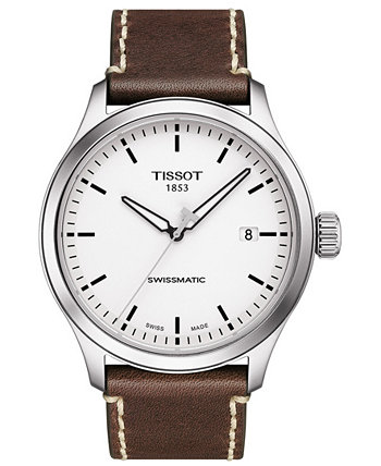 Мужские швейцарские автоматические часы Gent XL Swissmatic с коричневым кожаным ремешком, 43 мм Tissot