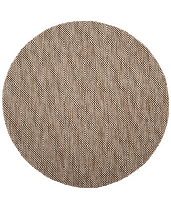 "Courtyard Natural and Black 6'7"" x 6'7"" Round Area Rug Safavieh"