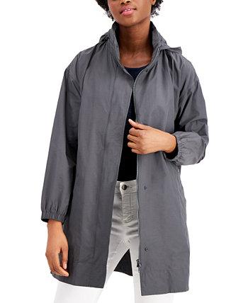Пальто из органического материала с воротником-стойкой и капюшоном на молнии Eileen Fisher