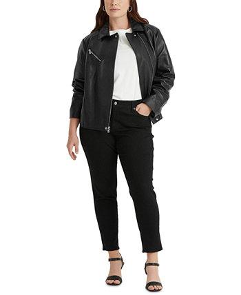 Plus-Size Leather Moto Jacket Ralph Lauren