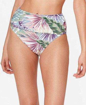 Its a Breeze Shirred High-Waist Bikini Bottoms Bleu Rod Beattie