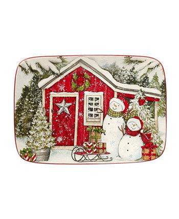 Прямоугольная тарелка «Дом снеговика», 14 x 10 дюймов Certified International