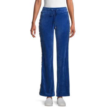 Велюровые спортивные брюки с тесьмой с логотипом Juicy Couture