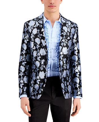 Мужской приталенный пиджак из парчи с цветочным принтом INC, созданный для Macy's INC International Concepts