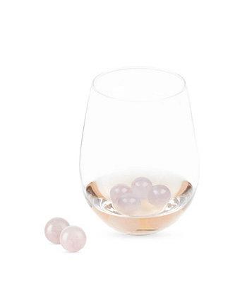 Набор из 6 винных драгоценных камней Twine Rose Quartz Wine True Brands