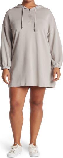 Hooded Half Zip Long Sleeve Sweatshirt Dress Spense