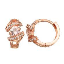 10k Rose Gold 1/6 Carat T.W. Diamond & Morganite Huggie Hoop Earrings Tiara