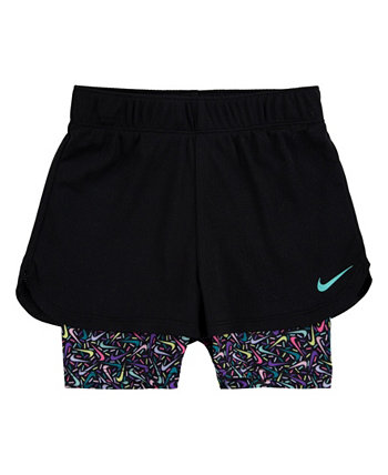 Little Girls Mesh Layered Shorts Nike