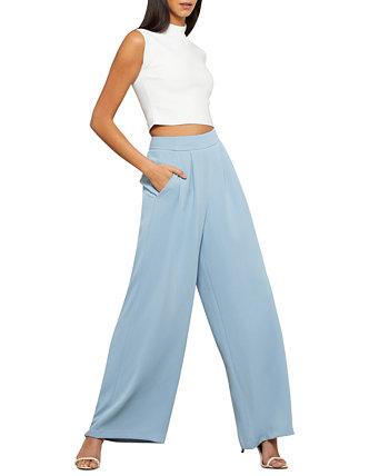 Широкие брюки со складками спереди BCBGMAXAZRIA