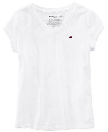Хлопковая футболка с V-образным вырезом для больших девочек Tommy Hilfiger