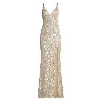 Платье с V-образным вырезом и блестками MAC DUGGAL