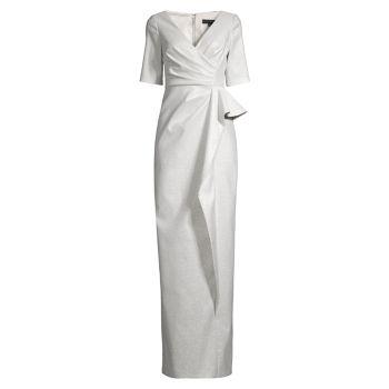 Ruched V-Neck Column Gown Aidan Mattox