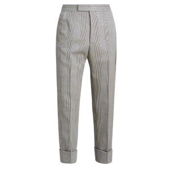 Классические укороченные брюки с лямками на спине и гусиными лапками THOM BROWNE
