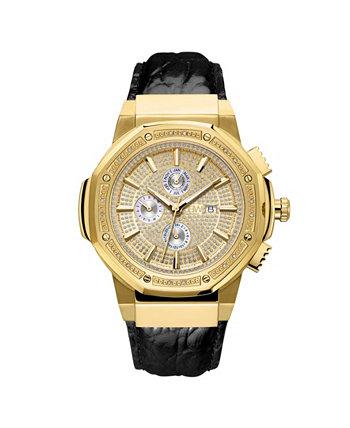 Мужские 10-летние саксонские бриллианты (1/6 каратного веса) и 18-каратного золота позолоченные часы JBW
