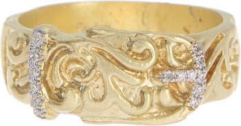 Кольцо-ремень из желтого золота 14 карат с бриллиантом - 0,06 карата Meira T