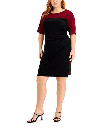 Платье-футляр большого размера с цветными блоками Connected
