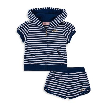 Baby's 2-Piece Striped Hoodie & Shorts Set Juicy Couture