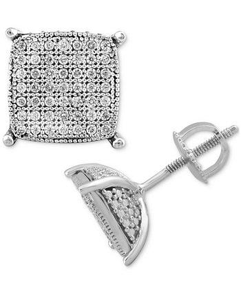 Мужские серьги-гвоздики Diamond Cushion Cluster (1/4 карата) из стерлингового серебра Macy's