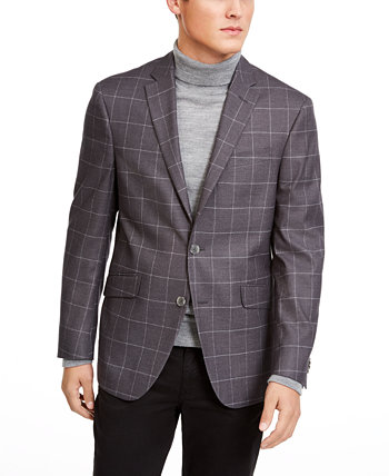 Мужское эластичное серое эластичное спортивное пальто с оконными стеклами Kenneth Cole Reaction