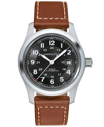 Мужские швейцарские автоматические часы цвета хаки с коричневым кожаным ремешком, 42 мм H70555533 Hamilton