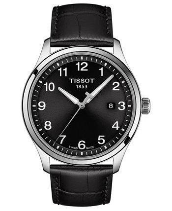Мужские часы Swiss Gent XL с черным кожаным ремешком, 42 мм Tissot