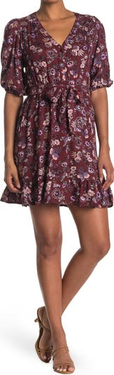 Darcie Belted Floral Mini Dress Velvet Heart