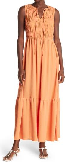Smocked Bodice Tiered Maxi Dress Donna Morgan