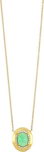 Ожерелье с хризопразом и бриллиантом из желтого золота 18 карат Bony Levy