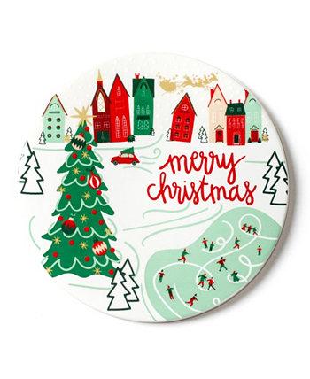 Рождество в деревенском городке за круглым тривеном Coton Colors
