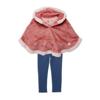 Пончо из 3-х частей из искусственного меха для маленьких девочек, топ & amp; Джеггинсы BCBG Girls