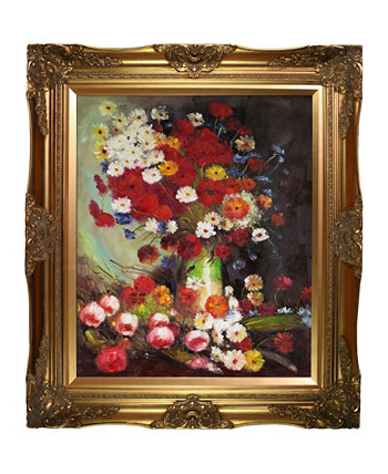 "By Overstockart Vase with Poppies Cornflowers Peonies and Chrysanthemums with Victorian Frame, 28"" x 32"" La Pastiche"