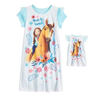 Girls 6-10 Dreamworks Spirit Nightgown & Doll Gown Licensed Character