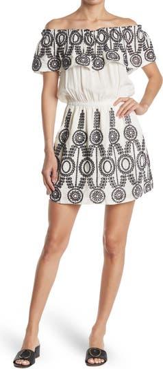 Embroidered Off-the-Shoulder Popover Dress Parker