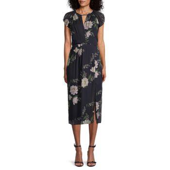 Миди-платье с цветочным рисунком ML Monique Lhuillier