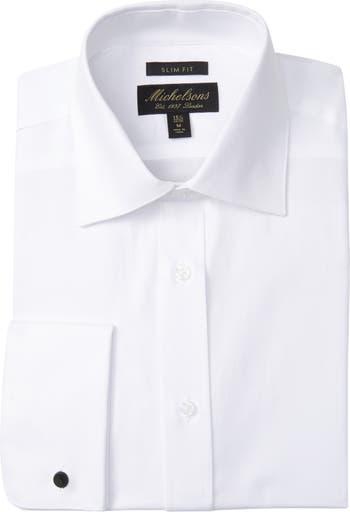 Текстурированная однотонная приталенная классическая рубашка под смокинг Michelsons