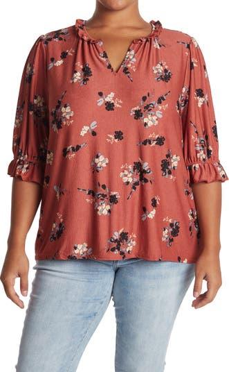 Вязаная блуза с оборками на рукавах и принтом MELLODAY