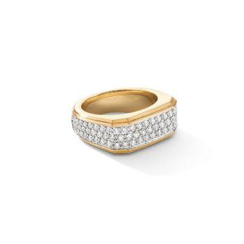 Паве римская печатка 18-каратного желтого золота & amp; Бриллиантовое кольцо David Yurman