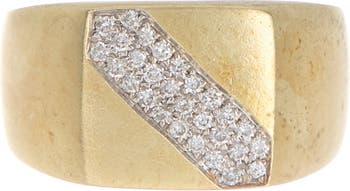 Кольцо с косым бриллиантом из желтого золота - размер 6.5 - 0,19 карата Meira T