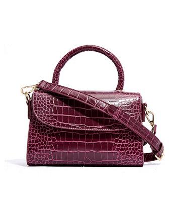 Миниатюрная сумка-портфель из веганской кожи с тиснением под кожу сверху и ручкой сверху LIKE DREAMS