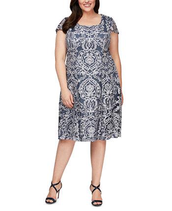 Сутажное платье миди больших размеров Alex Evenings