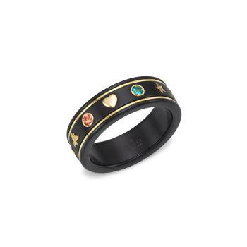 Кольцо с иконой из желтого золота 18 карат со звездой GUCCI