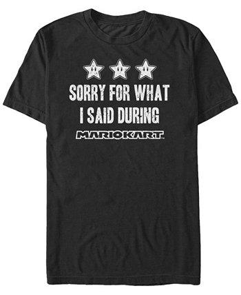 Мужская футболка Mario Kart «Извините за то, что я сказал» с коротким рукавом Nintendo