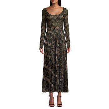 Трикотажное платье макси с длинными рукавами и геометрическим рисунком M Missoni
