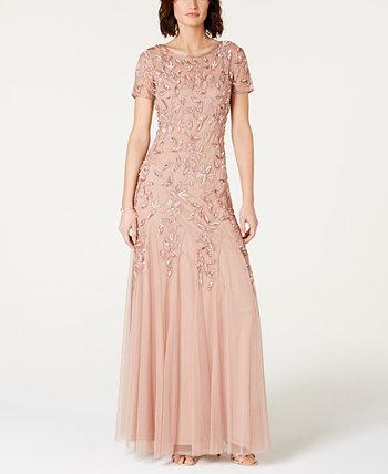 Миниатюрное платье с цветочным принтом и бисером Adrianna Papell