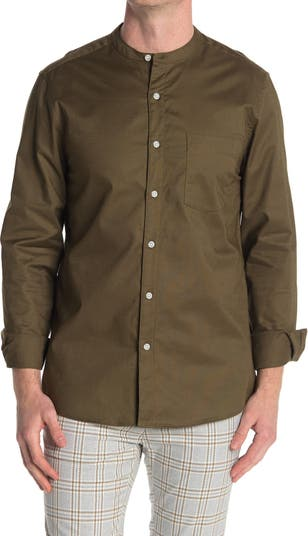 Рубашка с однотонным воротником-стойкой TOPMAN