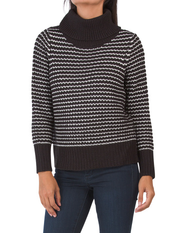 Полосатый свитер с высоким воротом Cliche
