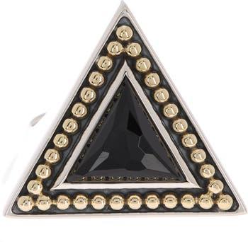 Треугольное кольцо из золота 18 карат и стерлингового серебра с ониксом - размер 7 LAGOS